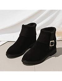 89b9303f5 Qingchunhuangtang Otoño e inviernonuevos Botines Tejidos versátilesgruesos  Zapatos de algodóncuñas