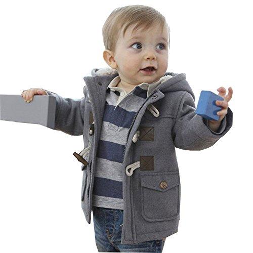 MissChild Baby Kinder Jungen Wintermantel mit Kapuze Steppjacke Winter Herbst Hooded Oberbekleidung Warm Fleece Duffle Mantel Grau Label 110
