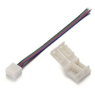 Alightings 4 pin LED Strip Connector Kits for 5050 RGB Waterproof Strip Lights,Connect Tape to Tape or Controller (Pack of 20)