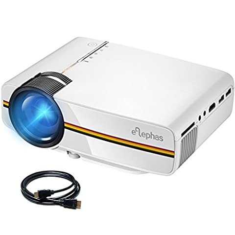 ELEPHAS LED Video Projector, Portable Mini Multimedia Projector Support 1080P Ideal for Home Theatre Entertainment Games Parties, White