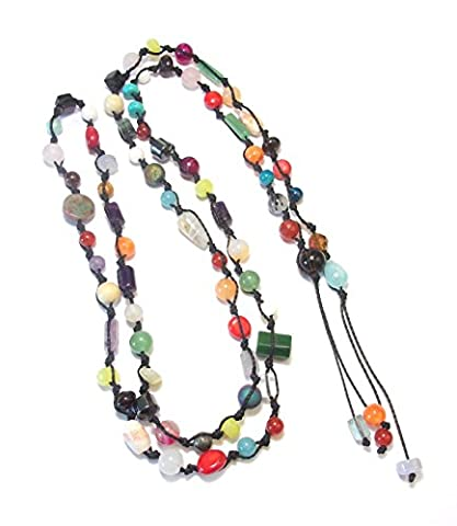 Collier Sautoir Ouvert Pierres Naturelles - Multicolore