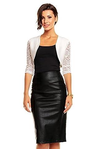 Damen Bolero Schulter Jäckchen Spitze ideal zum Abenkleid Cocktailkleid Kleid weiß One Size 34-38