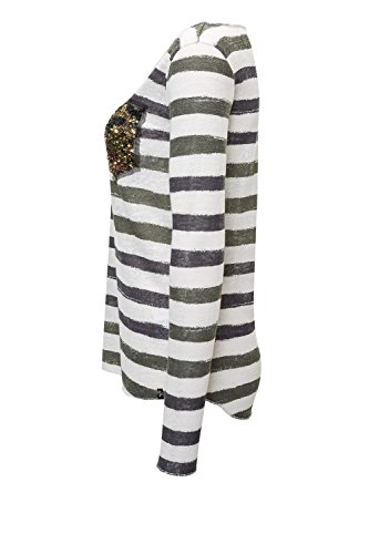 Key Largo Damen Langarmshirt Longsleeve Casual Used Look Offwhite