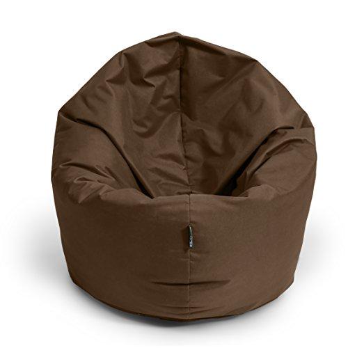 BuBiBag Sitzsack 2 in 1 Funktion Sitzkissen mit EPS Styroporfüllung 32 Farben Bodenkissen Kissen Sessel Sofa (125cm, Braun)