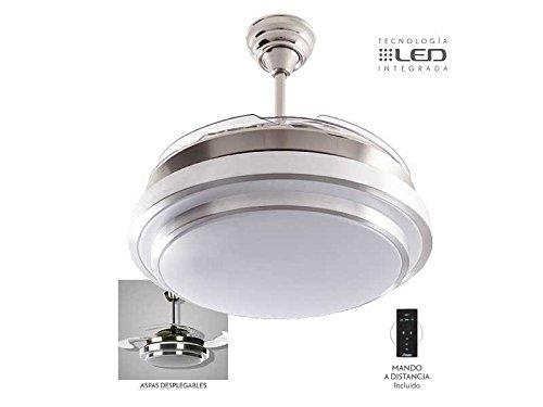 Ventilador de techo silencioso mod. Selene con LED incorporado y mando a distancia, 107 cm. acabado cromo y blanco con 4 aspas transparentes, AkunaDecor.