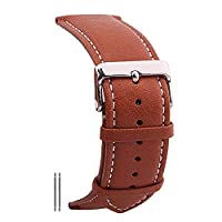 ZIJIA 20mm Vegetable Tanning Leather Watch Bands Straps Replacements Brown with White Stitching Watchband