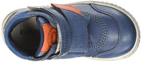 Kickers Winsor, Sneakers Hautes Garçon Bleu (Marine/Orange)