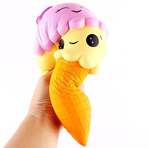 Sunday Stress Spielzeug, Ice Cream Duft Squishy Charm Langsam Aufsteigende Simulation Kind Spielzeug Eiscreme (Gelb, 22cm) (Viel Stress-ball)