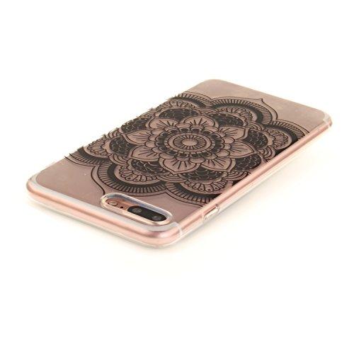 """Apple iPhone 7 Plus 5.5"""" hülle,MCHSHOP Ultra Slim Skin Gel TPU hülle weiche Silicone Silikon Schutzhülle Case für Apple iPhone 7 Plus 5.5"""" - 1 Kostenlose Stylus (Halbe weiße Blüten) Schwarze Sonnenblume"""