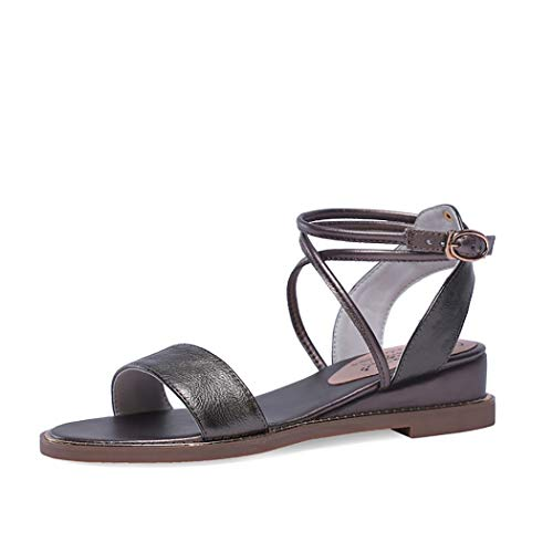 Mzq-yq Womens Ankle Tie Wrap Strappy Sandal, Ladies Peep Toe Lace Up Sandals Summer Flat Shoes,Champagne,37 Strappy Ankle Wrap Sandal