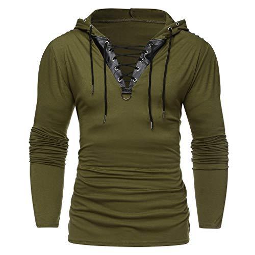 Xmiral Herren Kapuzenoberteile Kordelzug Vintage Leder Patchwork Langarm Sweatshirt Tops Pullover(M,Grün) -
