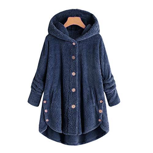 Winter Bequem Mantel Lässig Mode Jacke Frauen Knopf Mantel Flauschige Schwanz Tops Mit Kapuze Pullover Lose Pullover ()