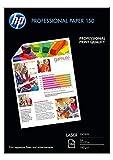 HP CG965A Professional Paper 150 GSM, Contiene 150 Fogli di Carta Fotografica Lucida, Originale HP, per Stampanti Laserjet, Formato A4 da 210 x 297 mm, Grammatura 150 g/m², Bianca