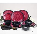 Melamin Geschirrset 12 Teile Teller und Schüsseln rot - Campinggeschirr Geschirr 4 Personen Picknick Camping