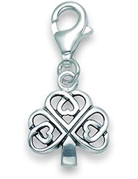 Sterling Silber Keltisches Kleeblatt Charm–Größe: 11mm x 10mm. In Geschenkverpackung silber Clover Wechselrahmen...