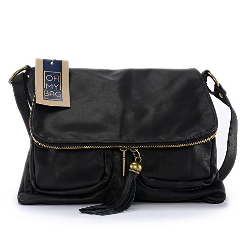 OH MY BAG Sac à Main cuir bandoulière femme - Modèle Avril Noir