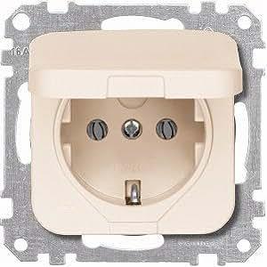 Merten 234274 Mécanisme de prise électrique avec couvercle à charnière System Basis Blanc