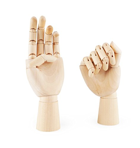 "Art Wooden Hand, Artist Jointed Articulated Mannequin Wood Hand,Sectioned Opposable Figure Sculpture Manikin Hand Model with Flexible Fingers,for Drawing,Sketching,12"" Left+Right Hand"