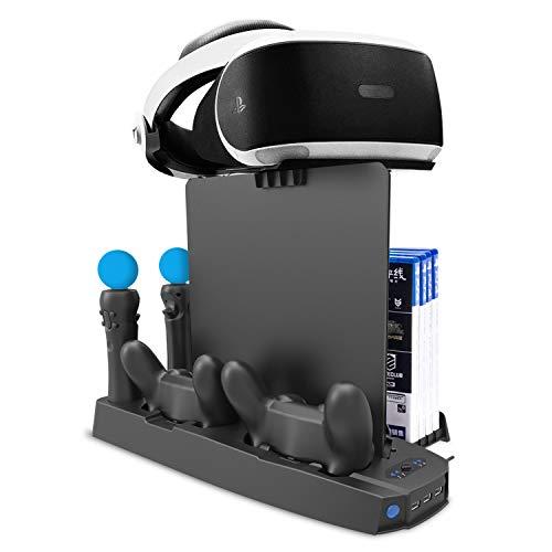 CHIN FAI Vertikales Standkühlungsladungs-Dock, 5-in-1 DVD Halter, 9PCS Spiele-Disketten-Speicher, VR-Standplatz, Doppelladestation für PS4 / PS4 dünn / PS4 Pro/PS VR[Upgrade-Version]