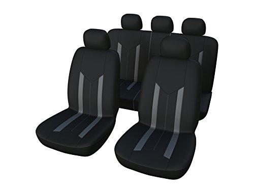 Autositzbezüge Universal Schwarz | Auto Sitzbezüge Set | 9-teiliges Bezüge Komplettset | Auto Zubehör für Frauen und Männer | Autozubehör Innenraum (B24 Schwarz Grau)