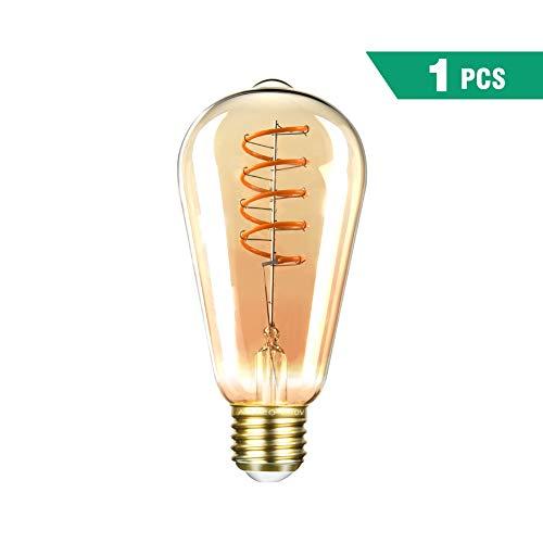 Edison Vintage Glühbirne SEALIGHT LED dekorative Retro Lampe Warmweiß 4W ST64 2000K E27 Antike Stil Beleuchtung Licht Bulb mit Squirrel Cage Filament Ideal für Haus Café Bar (1 Stücke) -