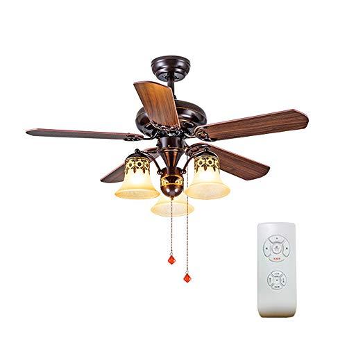 FSHY Ventilator Decke Innenbeleuchtung Fernbedienung leise Wohnzimmerlampe Schlafzimmer Küche Holz Stahl Rund LED geeignet (Decke Hunter-ventilatoren)
