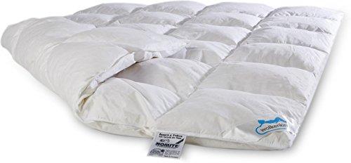 Premium Daunendecke Bettdecke 155 x 220 cm, Füllung aus Daunen-Federn-Mix, mit Baumwollbezug, Made in Germany