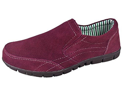 Coolers Ladies Suede Leather slip on sport casual Shoes Burgundy (5 UK)