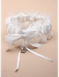 Garter For Brides Off White Satin Bow with Crystal Heart Effect pprox.31cm Stretches To Approx.52cm Hen Nights Party Wedding