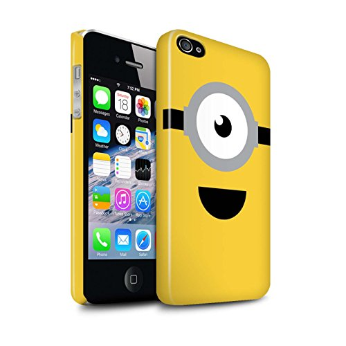 STUFF4 Glanz Snap-On Hülle / Case für Apple iPhone 4/4S / Stuart/Aufgeregt Muster / Süßer Minion Inspiriert Kollektion (Despicable Me Iphone 4 Fall)