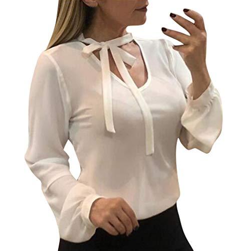 YU'TING☀‿☀ Donna Casuale Elegante Maglietta Manica Tunica Chiffon Camicia Manica Lunga a Foglia Allacciare Scollo V Casual T-Shirt Tops Blusa