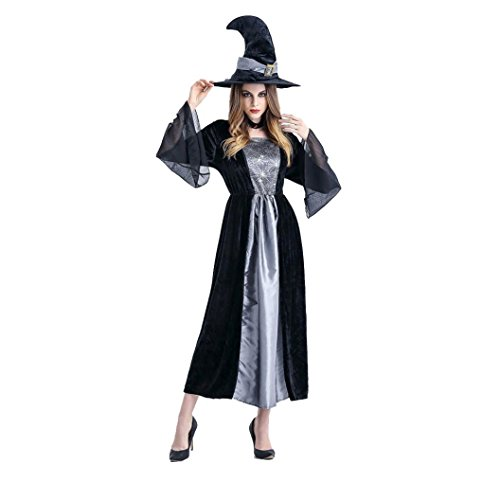 Damen Halloween Hexe Cosplay Set, zahuihuiM Erwachsene 2Pcs Party Requisiten Kostüm Kleid + Hut (Grau)