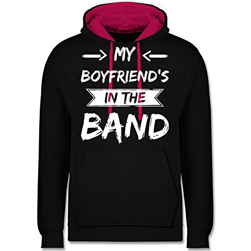 Statement Shirts - My boyfriend's in the band - Kontrast Hoodie Schwarz/Fuchsia