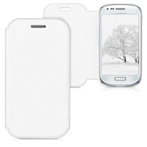 Custodia protettiva pratica e chic FLIP COVER per Samsung Galaxy S3 Mini i8190 in Bianco firmata kwmobile