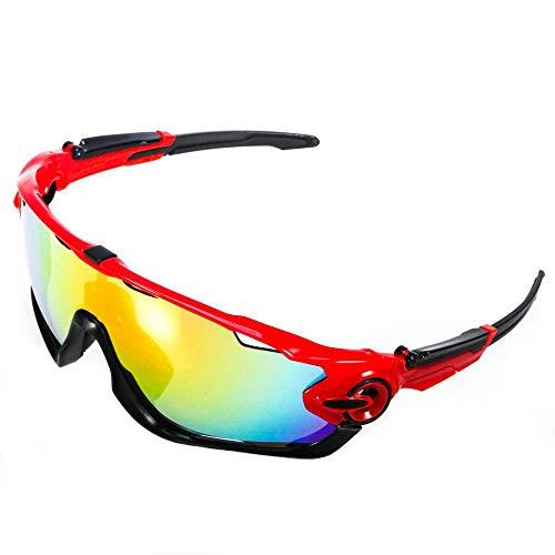 ACS1986 Polarisierte Sport-Sonnenbrille mit austauschbaren Lenes für Männer Frauen Radfahren Laufen Fahren Angeln Golf Baseball Brillen (4-Farben-Wechselobjektiv) (Schwarz und rot 1)