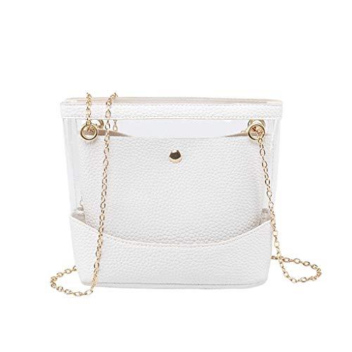 Ledertasche, Schultertasche, Geschenk, Handgefertigte Tasche,Frauen-Damen-Mädchen mischte transparente Tote-Handtaschen-Schulter-Crossbody-Tasche ()
