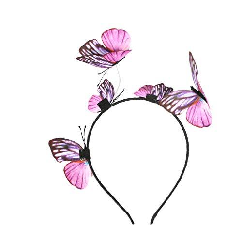B Baosity Damen Boho Schmetterling Krone Haarreif Haarband Stirnband Haarschmuck Haar Zubehör für Fasching Karneval Party - Rosa