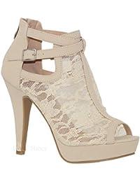 a4f1231a035e2c MVE Shoes Damen Elegant Spitze Plateau Peep Toe Verstellbare Knöchelriemen  mit Reißverschluss hinten