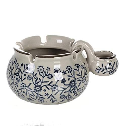 JLZS Regalos creativos de Porcelana Azul y Blanco Cenicero de cerámica cenicero de Moda Cenicero japonés y Coreano de Color Antiguo Esmalte (Color : A)