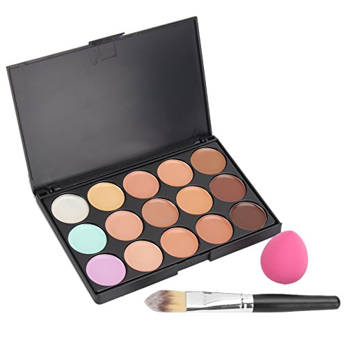 Pinzhi Cosmétiques De Maquillage Set 15 Couleurs Correcteur Crème + Pinceau Fond De Teint + Eponge Puff