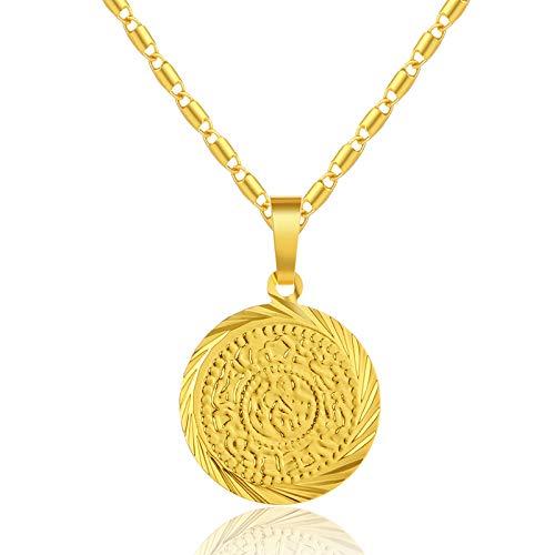 Kostüm Arabische Geld - Islam Muslimische Antike Münzen Halsketten Gold Farbe Arabische Geld Zeichen Anhänger Halskette Für Frauen Männer Religiöse Bijoux Schmuck 50cm
