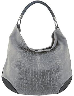 Damen Leder Tasche Henkeltasche Schultertasche mit Kroko Schlangen oder Blumen Prägung (Grau-Kroko)