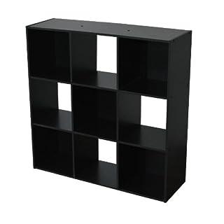 Alsapan Compo 3 x 3 Cube Unit with Black Melamine, 91 x 91 x 29.5 cm, Black Finish