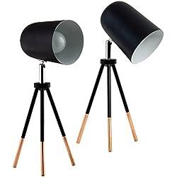 BRUBAKER - Lampe de table/de chevet - Lot de 2 - Design industriel - Hauteur 32 cm - Trépied en Métal & Cuivre - Spot en Métal/Noir