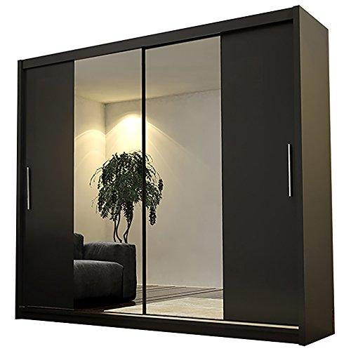 Kleiderschrank mit Spiegel Ava 4 L Modernes Schiebetürenschrank Kleiderstange Schwebetürenschrank Schlafzimmerschrank Garderobe Elegante Schiebetür Garderobeschrank 180cm (Schwarz, Ohne Beleuchtung)
