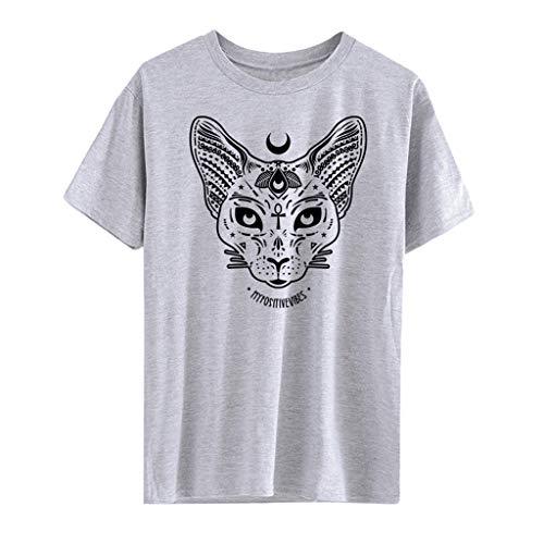 Punk Hippie Shirt Piebo Steampunk Schwarz Bluse O-Ausschnitt Top Kurzarm Shirt Kleid Moon Katze Drucken Hemd Mode Freizeit Casual Oberteil Streetwear Cosplay Kostüm ()