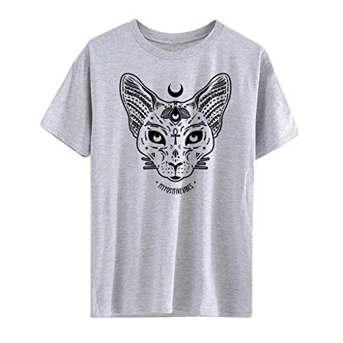 Gothic T-Shirt Damen Punk Hippie Shirt Piebo Steampunk Schwarz Bluse O-Ausschnitt Top Kurzarm Shirt Kleid Moon Katze Drucken Hemd Mode Freizeit Casual Oberteil Streetwear Cosplay Kostüm