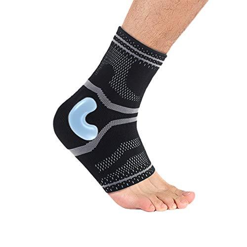 sfycstd Fussbandage Nylon Silikon Fußbandage Fußgelenk Fersensporn Bandage Knöchel Laufen Sport für effektive Schmerzlinderung Kompression Knöchelbandage Sprunggelenk Unisex Schwarz
