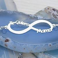 Collar Infinito Te Quiero Mamá Plata de Ley 925 - Colgante para Mamá plata
