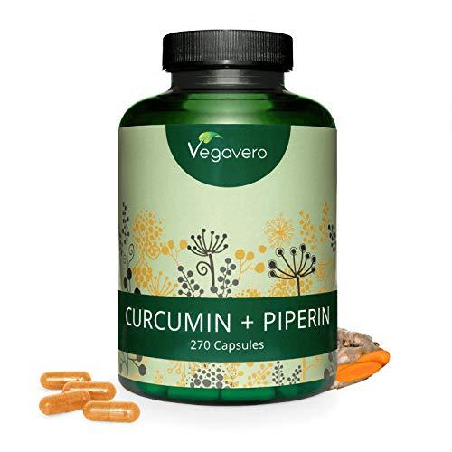 CURCUMINA PIPERINA 95% Vegavero® | MAXI Confezione: 270 capsule | Brucia grassi e Antinfiammatorio | Vegan